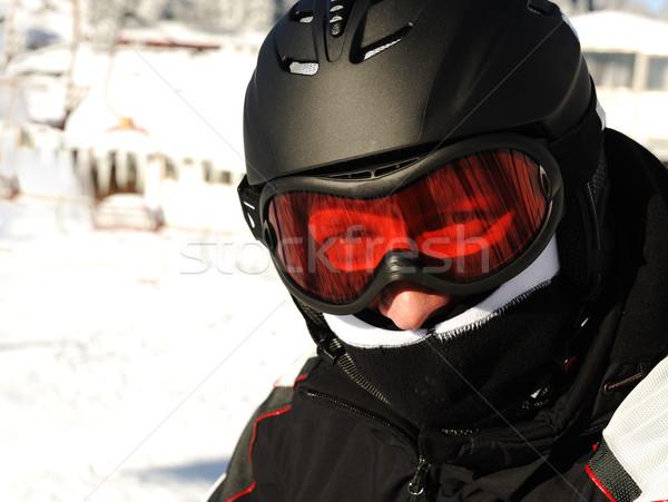 лыжник шлема голову счастливым солнце снега Сток-фото © zurijeta
