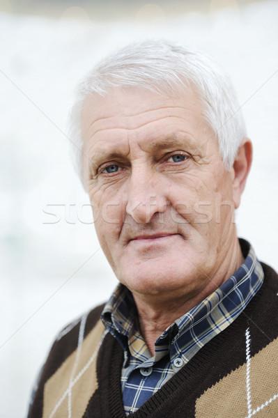 Stockfoto: Portret · knap · senior · man · grijs · haar · natuur