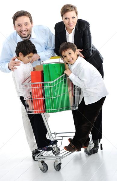 Photo stock: Famille · heureuse · panier · femme · famille · alimentaire · heureux
