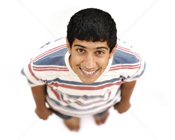 Tinédzser fölött izolált fehér egészalakos boldog Stock fotó © zurijeta