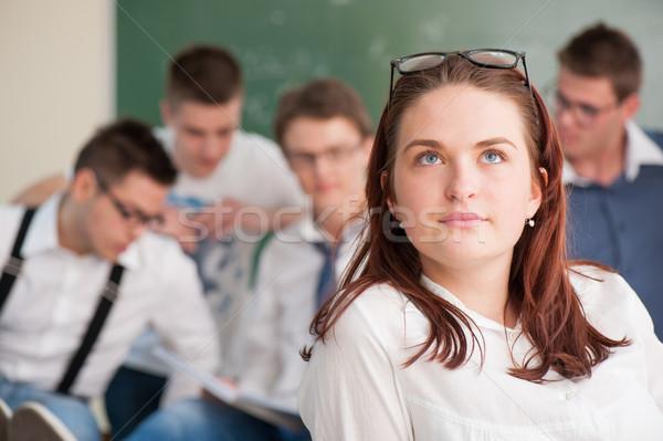 öğrenci düşünme güzel sınıf eğitim Öğrenciler Stok fotoğraf © zurijeta