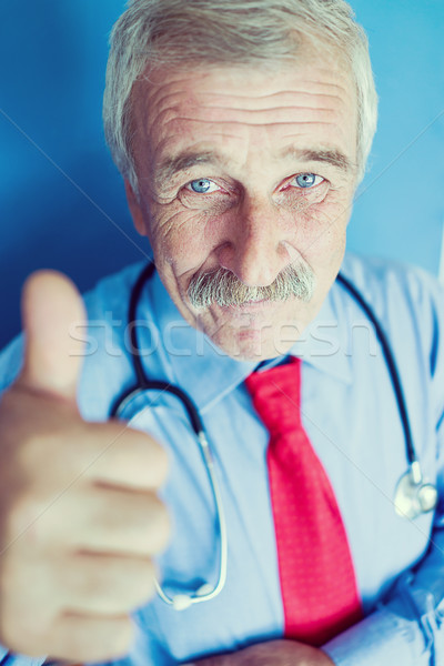 âgées médecin bleu laboratoire portrait supérieurs Photo stock © zurijeta