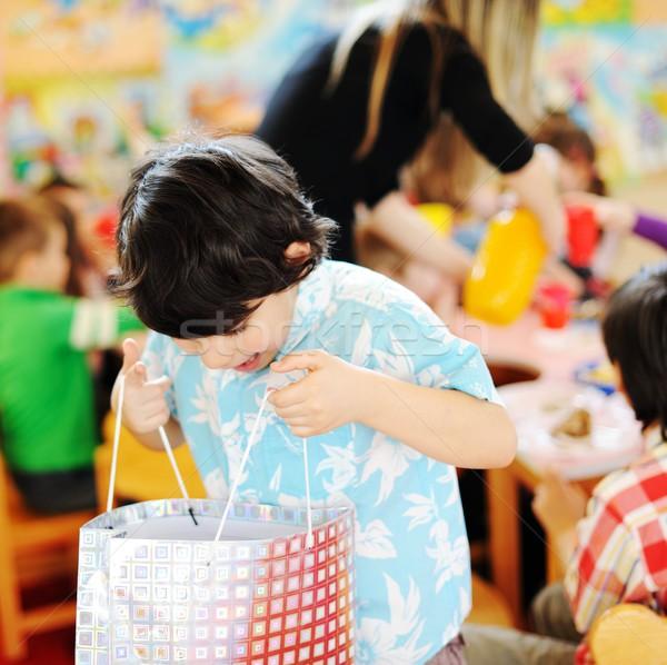 Stockfoto: Kinderen · vieren · verjaardagsfeest · speeltuin · kinderen