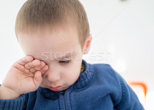Huilen weinig kid gezicht ruimte jongen Stockfoto © zurijeta