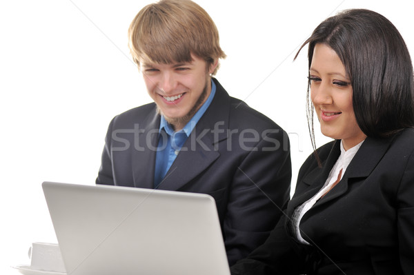 Young male and female business workers Stock photo © zurijeta