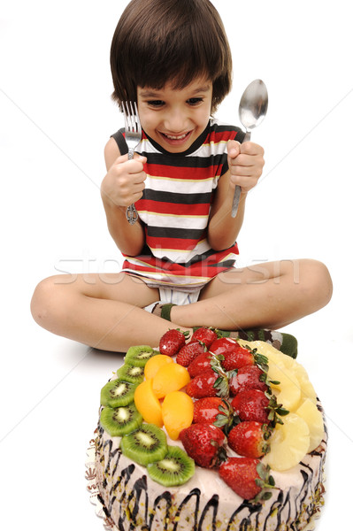 Nino comer pastel de frutas torta diversión nino Foto stock © zurijeta