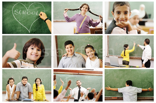 School concept, children and teacher in classroom - collage. Look for more ideas and photos in my po Stock photo © zurijeta