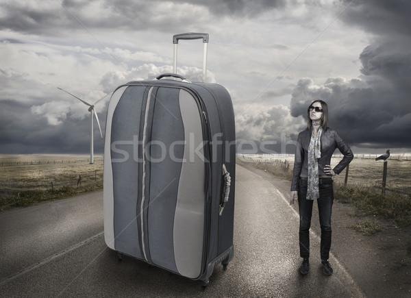 Girl on road, transportation, big bag Stock photo © zurijeta