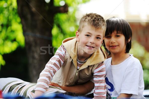 Feliz crianças infância trampolim alegre Foto stock © zurijeta