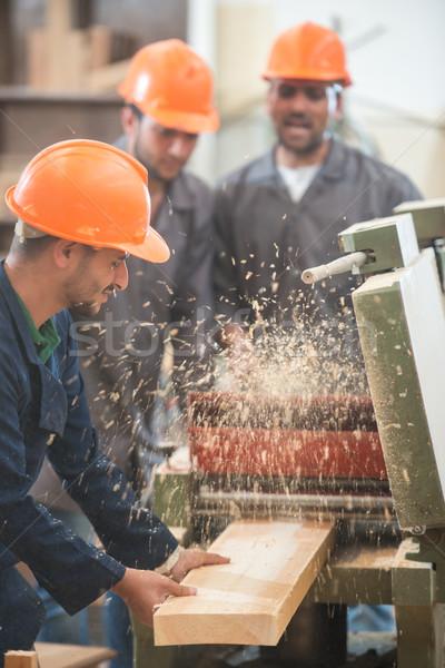 Werknemers industriële hout fabriek hand Stockfoto © zurijeta