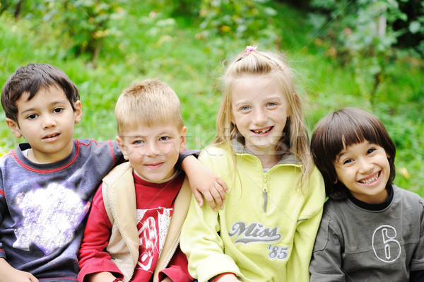 Happiness without limit, happy children together outdoor, faces, smiling and careless Stock photo © zurijeta