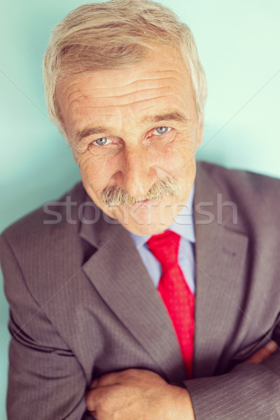 Stock photo: Portrait of a smiling and confident mature businessman with must