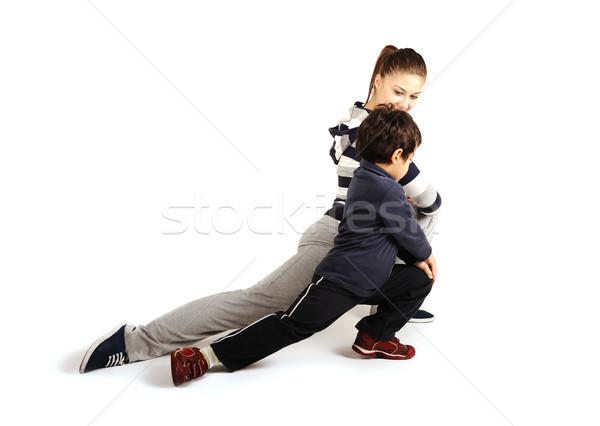 Foto stock: Familia · nino · fitness · deporte