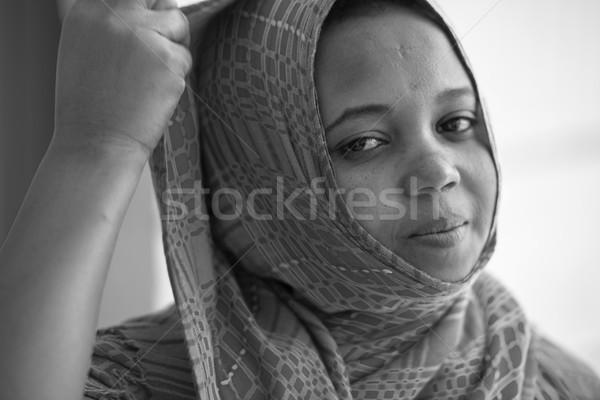 アフリカ ムスリム 少女 女性 笑顔 顔 ストックフォト © zurijeta