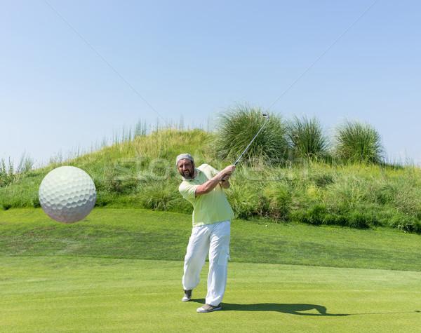Stockfoto: Geslaagd · man · spelen · golf · club · natuur