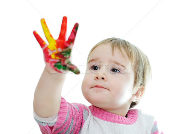 hands painted in colorful paints ready for hand prints Stock photo © zurijeta