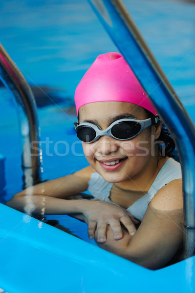 Girl in protective goggles leaves pool Stock photo © zurijeta
