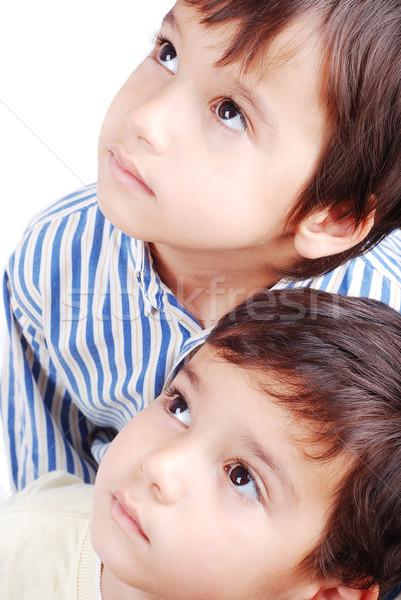 Twee cute jongens naar boven kinderen Stockfoto © zurijeta
