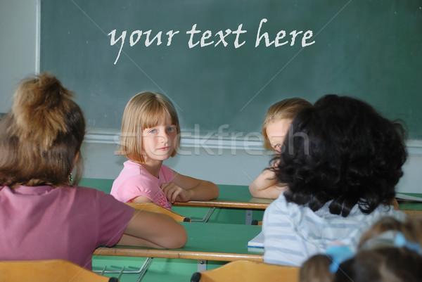 Klasie szkoły tekst zielone pokładzie uśmiech Zdjęcia stock © zurijeta