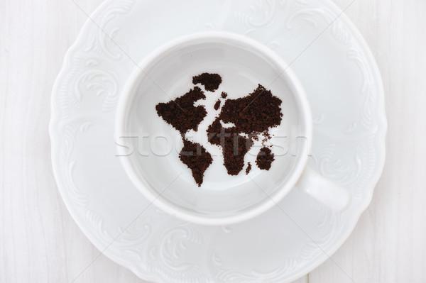 World map in coffee cup Stock photo © zurijeta