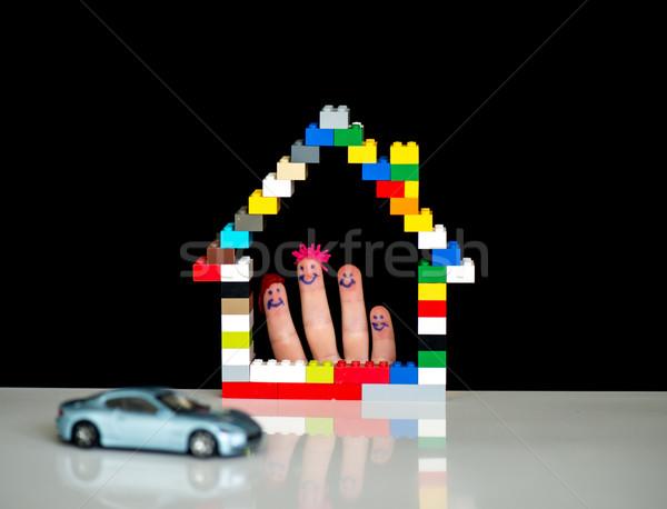 Familie zu Hause Auto Familie Design home Gruppe Stock foto © zurijeta