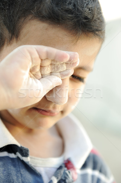 Portrait of poverty, little poor dirty boy, crying Stock photo © zurijeta