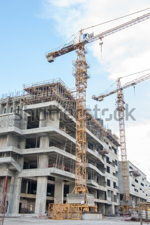 Construction site with crane and building Stock photo © zurijeta