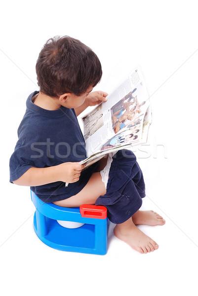 Kid weinig toilet cute jongen vergadering Stockfoto © zurijeta