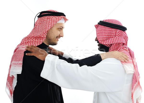 Сток-фото: два · арабский · мужчин · заседание · бизнесмен