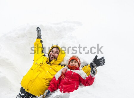 Winter fun kid playing having a fun in snow Stock photo © zurijeta