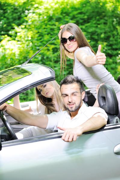 Három barátok sportautó remek autó mosoly Stock fotó © zurijeta