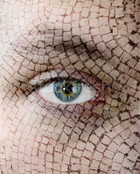 Cracked skin, closeup of green eye. Stock photo © zurijeta