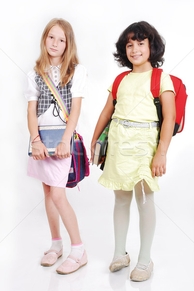 School children with bags and books, isolated Stock photo © zurijeta