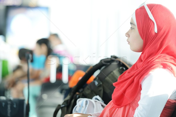 Arabic Middle eastern teenage girl traveling, airport transit Stock photo © zurijeta