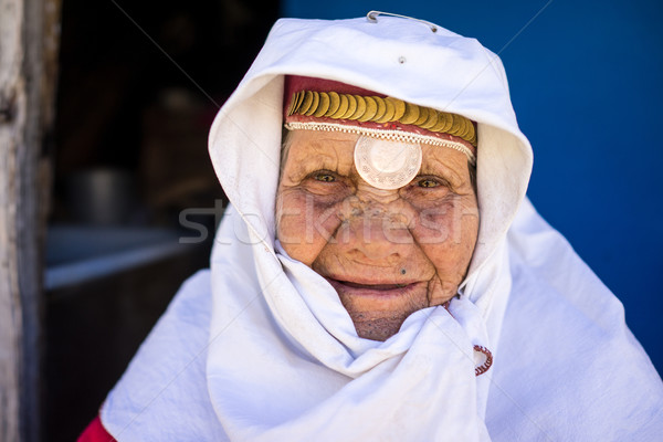 Very old traditional heritage wearing woman posing Stock photo © zurijeta