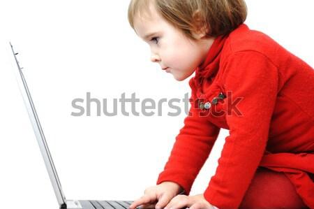 Childhood, laptop, learning and playing Stock photo © zurijeta