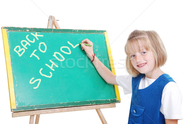 Children activities in the front of small board, isolated Stock photo © zurijeta