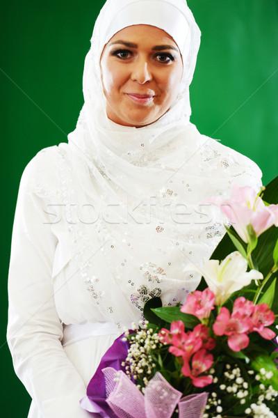 Gyönyörű fiatal távolkeleti menyasszony esküvő boldog Stock fotó © zurijeta