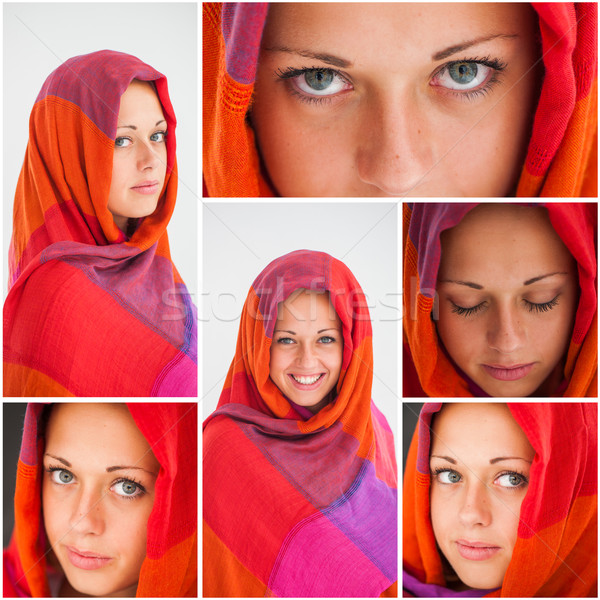 Belle fille hijab collage yeux Photo stock © zurijeta