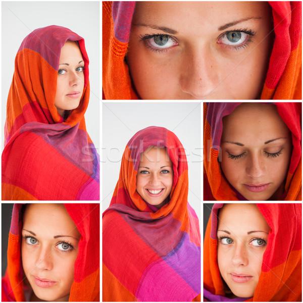 Güzel kız başörtüsü kolaj gözler Stok fotoğraf © zurijeta