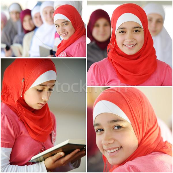 Muszlim arab lányok tanul együtt boldog Stock fotó © zurijeta