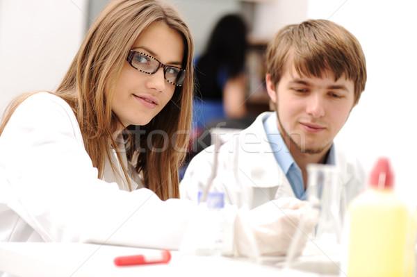 Stock fotó: Sikeres · csapatmunka · bent · labor · kutatás · fiatal