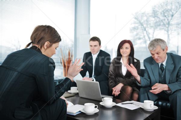 Empresária entrevista de emprego reunião empresário trabalhando falante Foto stock © zurijeta