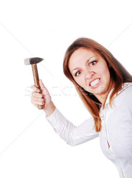 Crazy woman with hammer Stock photo © zurijeta