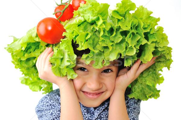 ストックフォト: かわいい · 子供 · トマト · サラダ · 帽子