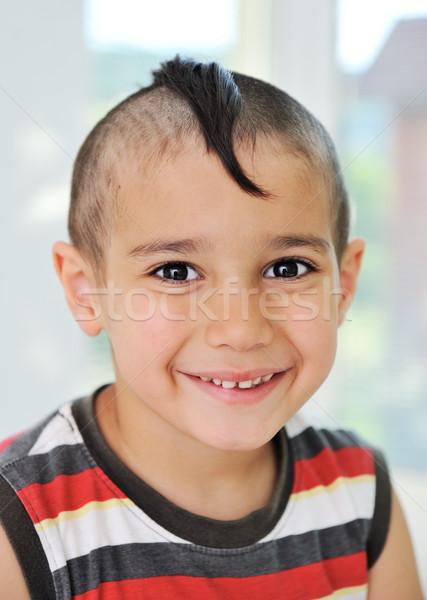 Cute pequeño nino funny pelo alegre Foto stock © zurijeta