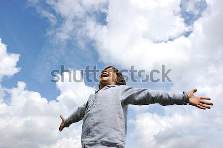Child, freedom, breathing fresh air in nature Stock photo © zurijeta
