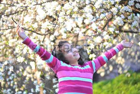 Pretty little girl  in the establishment of branches of a blossoming apple Stock photo © zurijeta