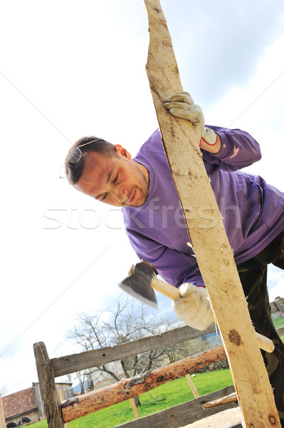 Man working with axe Stock photo © zurijeta