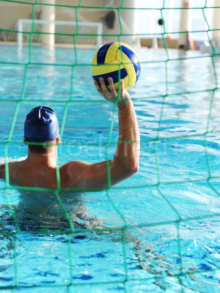 Waterpool goal and player with ball Stock photo © zurijeta